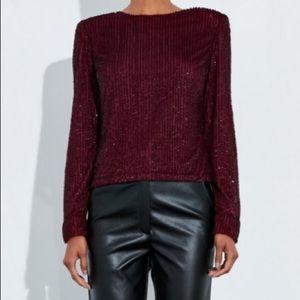 Missguided Peace + Love burgundy sequin drape top